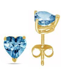 Tia Collections - 6x6 Heart Shape Aqua Earrings In 14k Yellow Gold - Lyst