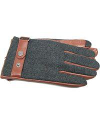 Ike Behar - Wool Blend Leather Touchscreen Gloves - Lyst
