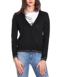 Sun 68 - Women's Black Wool Cardigan - Lyst