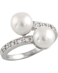 Splendid - Double Pearl Cz Ring - Lyst