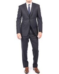 Luciano Barbera - Club Men's Slim Fit Wool Two Button Suit Navy Black - Lyst