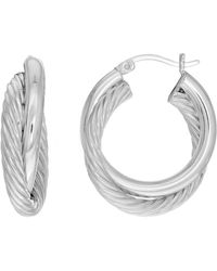 Jewelry Affairs - Sterling Silver Rhodium Plated Twisted Cable Double Tube Round Hoop Earrings, Diameter 25mm - Lyst
