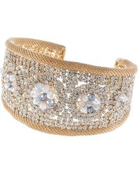 Jardin - Gold Cuff With Crystals - Lyst