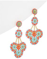 Miguel Ases - 18k Plated Turquoise & Crystal Drop Earrings - Lyst