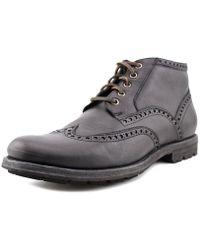 Frye - Phillip Lug Wingtip Men Round Toe Leather Black Chukka Boot - Lyst