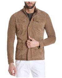 Aglini - Men's Beige Suede Outerwear Jacket - Lyst