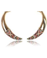 Roberto Cavalli - Brass Bohemian Embellished Tusk Choker Necklace - Lyst