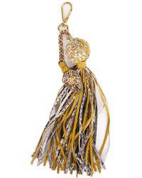 Roberto Cavalli - Yellow Lion Pendant Snakeskin Ball Chain Tassel Keychain - Lyst