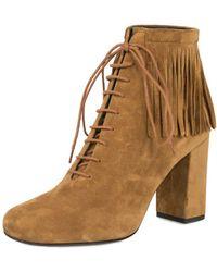 "Saint Laurent - Fringed ""babies"" Ankle Boots | Tan Suede - Lyst"