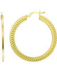 Jewelry Affairs - 14k Yellow Gold Texture Flat Wheat Pattern Hoop Earrings, Diameter 33mm - Lyst
