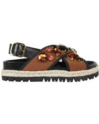 Marni - Women's Brown/black Leather Sandals - Lyst