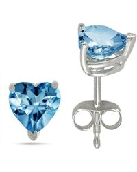 Tia Collections - 6x6 Heart Shape Aqua Earrings In 14k White Gold - Lyst