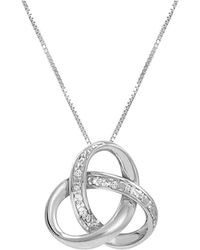 Amanda Rose Collection - Sterling Silver Diamond Love Knot Pendant- Necklace On An 18inch Box Chain - Lyst