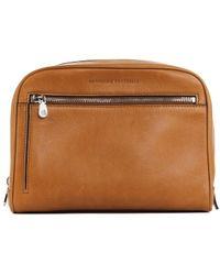 Brunello Cucinelli - Mens Light Cognac Brown Leather Wash Bag - Lyst