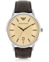Emporio Armani - Stainless Steel Men's Watch W/embossed Leather Strap - Lyst
