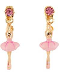 Les Nereides - Mini Pas De Deux With Pink Mini Ballerina And Crystal Earrings - Lyst