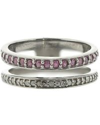Adornia - Ruby And Diamond Double Band Ring - Lyst