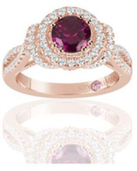Suzy Levian - Rose Sterling Silver Created Ruby And White Cubic Zirconia Anniversary Ring - Lyst