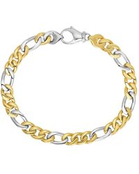 Jewelry Affairs - 14k Yellow And White Gold Diamond Cut Figaro Link Mens Bracelet, 8.5 - Lyst