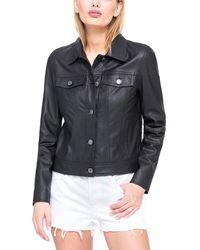 Marc New York - Fallon Feather Leather Jacket - Lyst