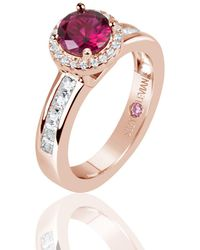 Suzy Levian - Rose Sterling Silver Created Ruby Round Cut Engagement Ring - Lyst
