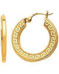 Jewelry Affairs - 14k Yellow Gold Small Greek Key Textured Hoop Earrings, Diameter 22mm - Lyst