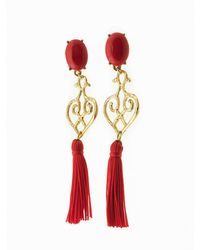 Viviane Guenoun - Heart Tasseled Gold Plated Earrings - Red - Lyst