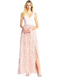 Adrianna Papell - Colour Block Gown With Petal Embroidered Tulle Skirt - Lyst