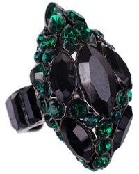 Roberto Cavalli - Green Black Swarovski Embellished Jeweled Ring - Lyst