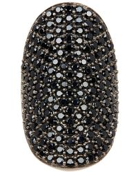 Adornia - Black Spinel And Sterling Silver Farrah Ring - Lyst