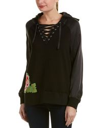 True Religion - Embroidered Lace-up Silk-trim Pullover - Lyst