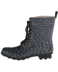 Chooka - Womens Leopard Combat Rubber Closed Toe Ankle Rainboots - Lyst