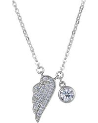 Jewelry Affairs - Sterling Silver Cz Angel Wing Charm Pendant Necklace, 18 - Lyst