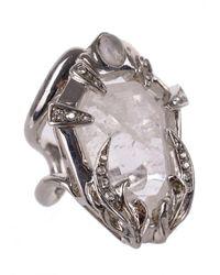 Roberto Cavalli - Transparent Stone Swarovski Silver Encased Ring - Lyst