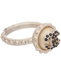 Chanel | Silvertone Pearl Ring | Lyst