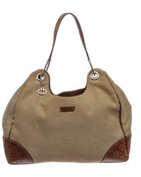 Gucci - Pre Owned - Brown Beige Canvas Leather Hobo Shoulder Bag - Lyst