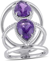 Julianna B - 3/8 Ct Diamond Tw And Amethyst-africa Fashion Ring - Lyst