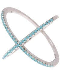 Adornia - Turquoise And Sterling Silver X Ring - Lyst