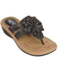 White Mountain Footwear - Women's Cupcake Thong Wedge Sandal - Lyst