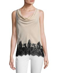 Alice + Olivia - Marge Lace Combo Cowl Back Tank - Lyst