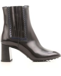 Tod's - Women's Black Leather Ankle Boots - Lyst