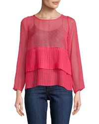 Plenty by Tracy Reese - Pleated Pindot Blouse - Lyst