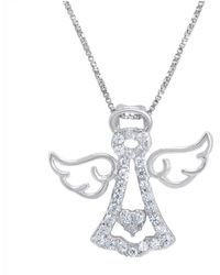 Amanda Rose Collection - Sterling Silver Angel Pendant-necklace Made With Swarovski Zirconia - Lyst
