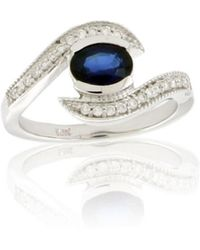 Suzy Levian - Modern September Birthstone 14k Gold Sapphire And Diamond 1.09 Tcw Ring - Lyst