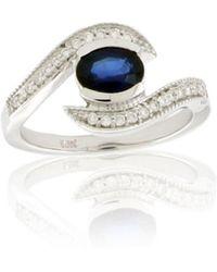 Suzy Levian | Modern September Birthstone 14k Gold Sapphire And Diamond 1.09 Tcw Ring | Lyst