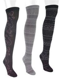 Muk Luks - Women's Microfiber 3-pair Black Pack Over The Knee Socks - Lyst