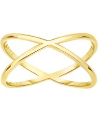 Jewelry Affairs - 14k Yellow Gold Cross Over X Design Ring - Lyst