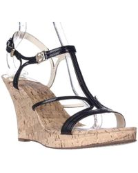 Michael Kors - Michael Cicely Wedge Strappy Cork Sandals, Black - Lyst