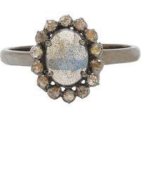 Adornia - Labradorite And Champagne Diamond Genevieve Ring - Lyst