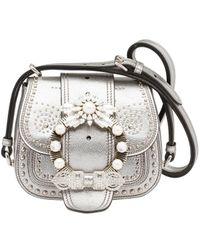 Miu Miu - Women's Silver Leather Shoulder Bag - Lyst